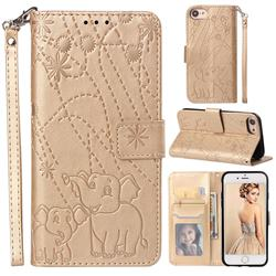 Embossing Fireworks Elephant Leather Wallet Case for iPhone 8 / 7 (4.7 inch) - Golden