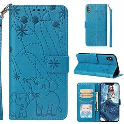 Embossing Fireworks Elephant Leather Wallet Case for iPhone 8 / 7 (4.7 inch) - Blue