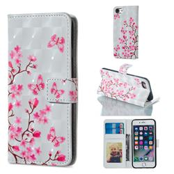 Butterfly Sakura Flower 3D Painted Leather Phone Wallet Case for iPhone 8 / 7 (4.7 inch)