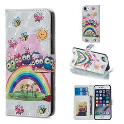 Rainbow Owl Family 3D Painted Leather Phone Wallet Case for iPhone 8 / 7 (4.7 inch)