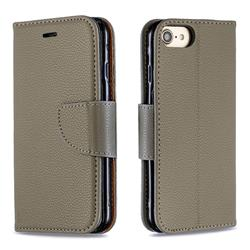 Classic Luxury Litchi Leather Phone Wallet Case for iPhone 8 / 7 (4.7 inch) - Gray