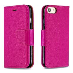 Classic Luxury Litchi Leather Phone Wallet Case for iPhone 8 / 7 (4.7 inch) - Rose