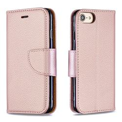 Classic Luxury Litchi Leather Phone Wallet Case for iPhone 8 / 7 (4.7 inch) - Golden