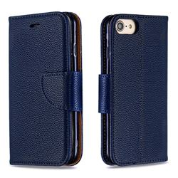 Classic Luxury Litchi Leather Phone Wallet Case for iPhone 8 / 7 (4.7 inch) - Blue