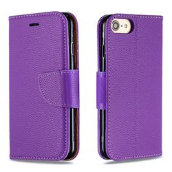 Classic Luxury Litchi Leather Phone Wallet Case for iPhone 8 / 7 (4.7 inch) - Purple