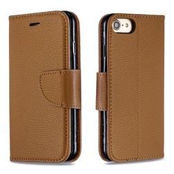 Classic Luxury Litchi Leather Phone Wallet Case for iPhone 8 / 7 (4.7 inch) - Brown