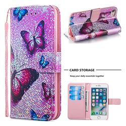 Blue Butterfly Sequins Painted Leather Wallet Case for iPhone 8 / 7 (4.7 inch)
