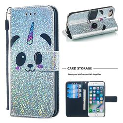 Panda Unicorn Sequins Painted Leather Wallet Case for iPhone 8 / 7 (4.7 inch)