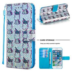 Little Unicorn Sequins Painted Leather Wallet Case for iPhone 8 / 7 (4.7 inch)