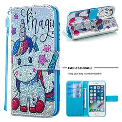 Star Unicorn Sequins Painted Leather Wallet Case for iPhone 8 / 7 (4.7 inch)