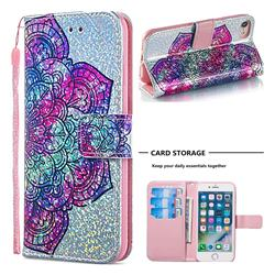 Glutinous Flower Sequins Painted Leather Wallet Case for iPhone 8 / 7 (4.7 inch)