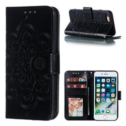 Intricate Embossing Datura Solar Leather Wallet Case for iPhone 8 / 7 (4.7 inch) - Black
