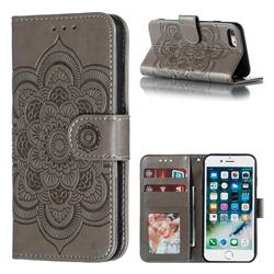 Intricate Embossing Datura Solar Leather Wallet Case for iPhone 8 / 7 (4.7 inch) - Gray