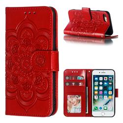 Intricate Embossing Datura Solar Leather Wallet Case for iPhone 8 / 7 (4.7 inch) - Red