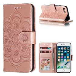 Intricate Embossing Datura Solar Leather Wallet Case for iPhone 8 / 7 (4.7 inch) - Rose Gold