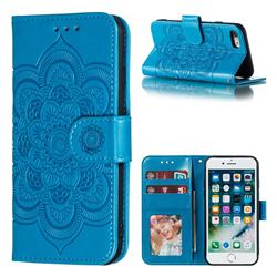 Intricate Embossing Datura Solar Leather Wallet Case for iPhone 8 / 7 (4.7 inch) - Blue
