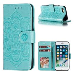 Intricate Embossing Datura Solar Leather Wallet Case for iPhone 8 / 7 (4.7 inch) - Green