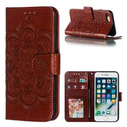 Intricate Embossing Datura Solar Leather Wallet Case for iPhone 8 / 7 (4.7 inch) - Brown