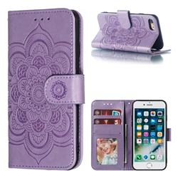 Intricate Embossing Datura Solar Leather Wallet Case for iPhone 8 / 7 (4.7 inch) - Purple