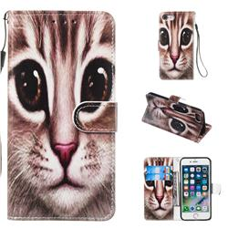 Coffe Cat Smooth Leather Phone Wallet Case for iPhone 8 / 7 (4.7 inch)