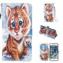 Baby Tiger Smooth Leather Phone Wallet Case for iPhone 8 / 7 (4.7 inch)