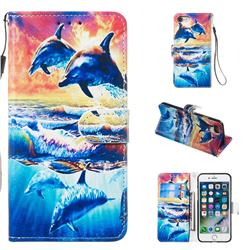 Couple Dolphin Smooth Leather Phone Wallet Case for iPhone 8 / 7 (4.7 inch)