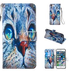 Blue Cat Smooth Leather Phone Wallet Case for iPhone 8 / 7 (4.7 inch)