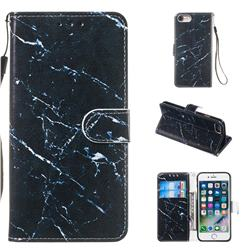 Black Marble Smooth Leather Phone Wallet Case for iPhone 8 / 7 (4.7 inch)