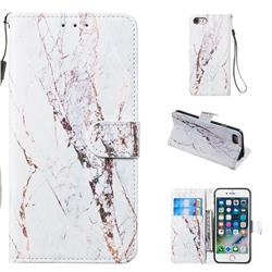 White Marble Smooth Leather Phone Wallet Case for iPhone 8 / 7 (4.7 inch)