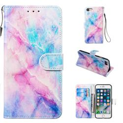 Blue Pink Marble Smooth Leather Phone Wallet Case for iPhone 8 / 7 (4.7 inch)