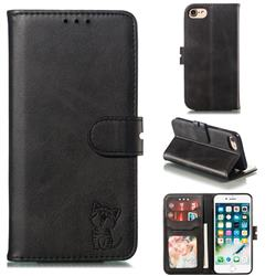 Embossing Happy Cat Leather Wallet Case for iPhone 8 / 7 (4.7 inch) - Black