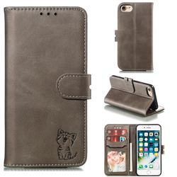 Embossing Happy Cat Leather Wallet Case for iPhone 8 / 7 (4.7 inch) - Gray