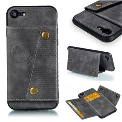 Retro Multifunction Card Slots Stand Leather Coated Phone Back Cover for iPhone 8 / 7 (4.7 inch) - Gray