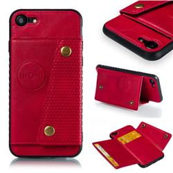 Retro Multifunction Card Slots Stand Leather Coated Phone Back Cover for iPhone 8 / 7 (4.7 inch) - Red