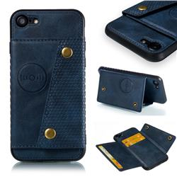 Retro Multifunction Card Slots Stand Leather Coated Phone Back Cover for iPhone 8 / 7 (4.7 inch) - Blue