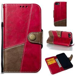 Retro Magnetic Stitching Wallet Flip Cover for iPhone 8 / 7 (4.7 inch) - Rose Red