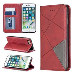 Prismatic Slim Magnetic Sucking Stitching Wallet Flip Cover for iPhone 8 / 7 (4.7 inch) - Red