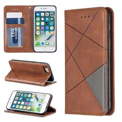 Prismatic Slim Magnetic Sucking Stitching Wallet Flip Cover for iPhone 8 / 7 (4.7 inch) - Brown