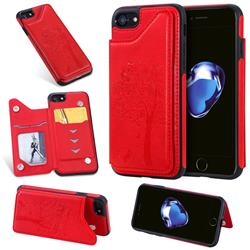 Luxury Tree and Cat Multifunction Magnetic Card Slots Stand Leather Phone Back Cover for iPhone 8 / 7 (4.7 inch) - Red