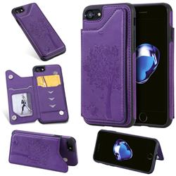 Luxury Tree and Cat Multifunction Magnetic Card Slots Stand Leather Phone Back Cover for iPhone 8 / 7 (4.7 inch) - Purple
