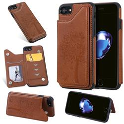 Luxury Tree and Cat Multifunction Magnetic Card Slots Stand Leather Phone Back Cover for iPhone 8 / 7 (4.7 inch) - Brown