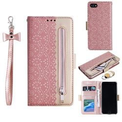 Luxury Lace Zipper Stitching Leather Phone Wallet Case for iPhone 8 / 7 (4.7 inch) - Pink