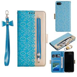 Luxury Lace Zipper Stitching Leather Phone Wallet Case for iPhone 8 / 7 (4.7 inch) - Blue