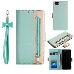 Luxury Lace Zipper Stitching Leather Phone Wallet Case for iPhone 8 / 7 (4.7 inch) - Green