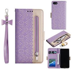 Luxury Lace Zipper Stitching Leather Phone Wallet Case for iPhone 8 / 7 (4.7 inch) - Purple