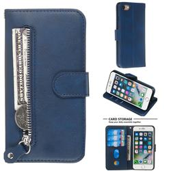 Retro Luxury Zipper Leather Phone Wallet Case for iPhone 8 / 7 (4.7 inch) - Blue