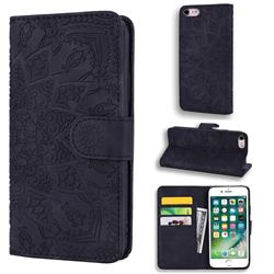 Retro Embossing Mandala Flower Leather Wallet Case for iPhone 8 / 7 (4.7 inch) - Black
