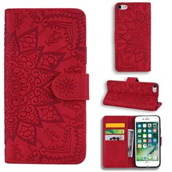 Retro Embossing Mandala Flower Leather Wallet Case for iPhone 8 / 7 (4.7 inch) - Red