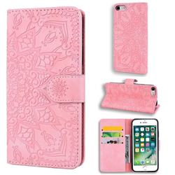 Retro Embossing Mandala Flower Leather Wallet Case for iPhone 8 / 7 (4.7 inch) - Pink