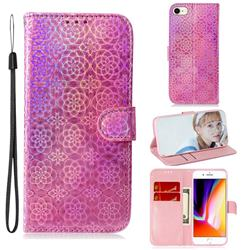 Laser Circle Shining Leather Wallet Phone Case for iPhone 8 / 7 (4.7 inch) - Pink